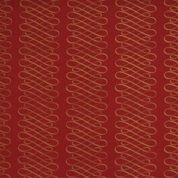 Mulberry Fabric FD251.V102 Swash Stripe Red/Gold