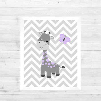 Lavender Gray Giraffe Butterfly on Gray, Chevron Baby Nursery Art CUSTOMIZE YOUR COLORS 8x10 Prints Nursery Decor Print Art Baby Room Decor