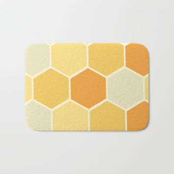 Yellow Honeycomb Bath Mat by spaceandlines