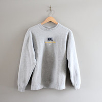 Nike Sweatshirt Grey Fleece Lining Cotton Nike Pullover Baggy Slouchy Sweater Vintage Minimalist 90s Sweater Size M - L