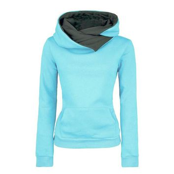 European and American Style Solod Women's Long-sleeve Hooded Jacket Pullover Hoodies Slim Fit Design