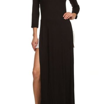 Sexy Round Neck Long Sleeve Tee Shirt Double Bodice High Split Open Maxi Dress