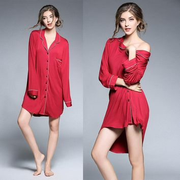 Nightgowns for Women Women Nightgown long sleeve V-Neck Turn Down Collar Button Front Nightdress Sexy Lingerie Dress Sleepdress