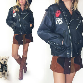 Vintage 1980s BLACK Leather Motorcycle Jacket With Stones And Route 66 Patches || Size Medium Large