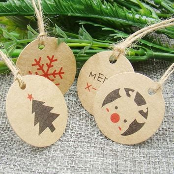 3*3cm circle shape 100pcs kraft christmas paper gift hang  tag for christmas favors/baby toy display package