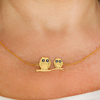 Owl necklace gold plated evil eye necklace gold plated chain dainty necklace istanbul turkey best friend birthday gift