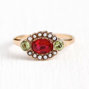 Victorian Era Ring - 14k Rosy Yellow Genuine Peridot & Garnet Doublet Seed Pearl Statement - 1880s Size 8 3/4 Green Gem Unique Fine Jewelry