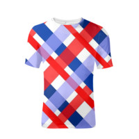 Red Blue And White Pattern Mens Tee