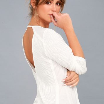 Layer of Love White Backless Long Sleeve Top