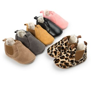Baby Ankle Boots w/ plush Toddler Shoes Moccasins / 6 color choices