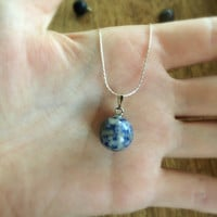Sodalite necklace, Round Ball Pendant, Sterling Silver Necklace, Stone Pendant, Blue Round Pendant, Blue Ball Pendant, Layering Necklace
