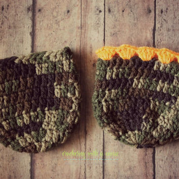 Crocheted Camo Coozie - His & Her Set - Orange Lace