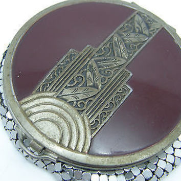 Vintage Evans Art Deco Chainmaille Mesh Burgundy Silver Tone Powder Compact