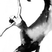 Dancer Print. Dancer Prints of Dancer Painting,  Art Print of Watercolor painting.  Titled - Dancer with heart, Black and White Dancer
