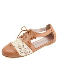 LACE-UP CROCHET CUT-OUT OXFORDS