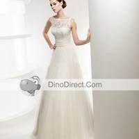 Lace Applique Sweep Sheath Bridal Gown Wedding Dress, Europe - DinoDirect.com