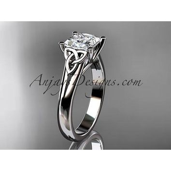 """platinum celtic trinity knot wedding ring, engagement ring with a Princess cut """"Forever One"""" Moissanite center stone CT7143"""