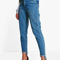 Emily Displaced Pocket Step Hem Mom Jeans | Boohoo