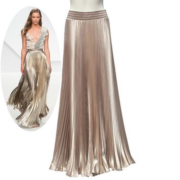Spring AutumnFashion Elegant Metal Gloss Elastic Waist Pleated Smooth Bright 2017 Satin Ladies Maxi Long Tulle Women's Skirts