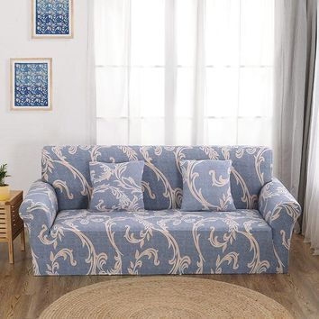 Elastic Printed Flowers Slipcover For Sofas