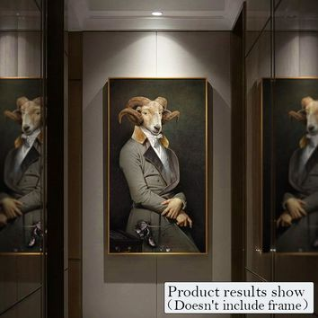 Retro Nostalgia Gentleman oil paintings Wall Art Animal posters And Prints Fashion Canvas Painting For Living Room Home Deco