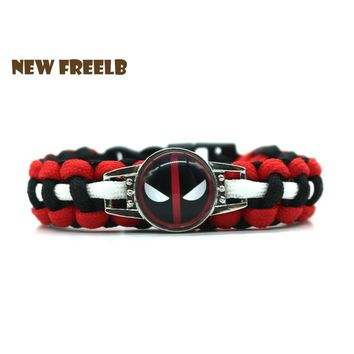New&Classic Movie Superhero Deadpool 2 Logo Paracord Bracelet Black Red Handmade Outdoor Survival Jewelry for Unisex fans 3Style