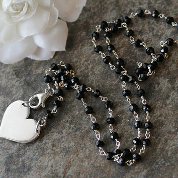 Large Sterling Heart Beaded Necklace, 925 Sterling Silver Jet Black, Black Onyx Rosary Style, Large Hear Pendant