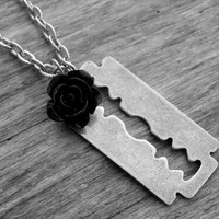 Razor Blade Necklace Razor Blade Jewelry Black Rose Gothic Goth Silver Razorblade Punk Rock Heavy Metal Rock n Roll Rocker Rock and Roll