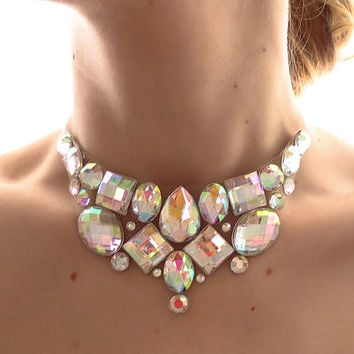Simple Crystal AB Rhinestone Bib Necklace, Small Jeweled Bib, Clear AB Necklace