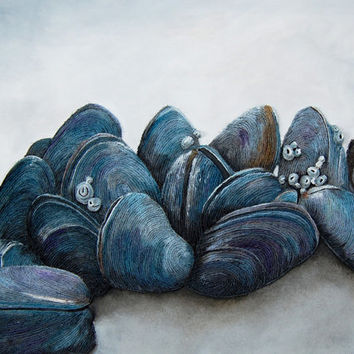 Mussels Seashell Painting - Large 3D Textured String Art of Shells on Coastal Rock