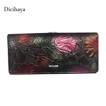 Dicihaya New Arrive Ladies Wallets Leather Women Long Purse Flower Embossing Female Hasp Wallet Money Clips Woman Cards Purse