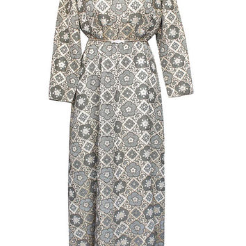 "Vintage 60s Metallic Brocade Full Length Dress/Gown | Plus Size, Women's 20, 37"" Waist 