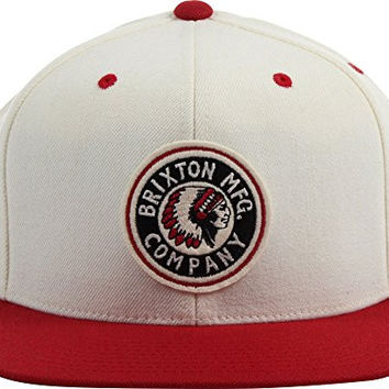 Brixton Men's Rival Snap Back Hat, Off White/Red, One Size