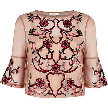 Light pink floral embroidered top