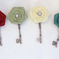 Custom Boutonniere Burlap and Skeleton Key You Choose The Color Rustic Country Barn Wedding