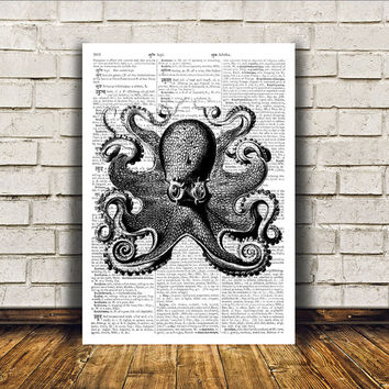 Modern decor Nautical art Octopus poster Dictionary print RTA122