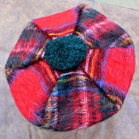 Vintage 1960's Scottish Tam - Wool & Mohair Beret - Knitted in Scotland - Lochcarron Royal Stewart - Red Green Plaid w/ Pom