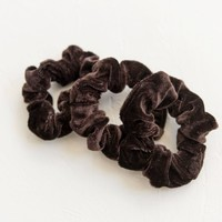 Velvet Scrunchies Set Of 3 - Brown