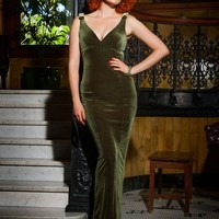 The Laura Byrnes Gilda Gown in Olive Velvet