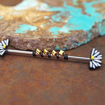 Black and White Daisy Industrial Barbell 14g