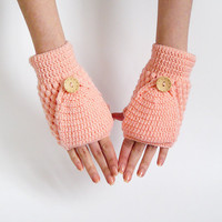 Women Convertible Mittens With Flip Top In Peach Pink
