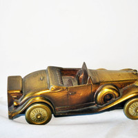 Banthrico Brass Vintage Car Bank, Vintage Brass Cadillac, Collectible Vintage Brass Car Bank