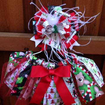 CHRISTMAS Tutu, Christmas Outfit, Fabric Tutu, Scrap Tutu, Shabby Baby Tutu, Photo Prop, Christmas Photo Prop, Tutu and Matching Bow