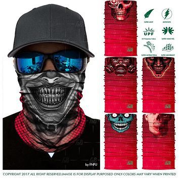 Top Selling RED Skull Bandana Ghost Motorcycle Face Shield Halloween Multifunctional Bandana Tube Headwear Magic Seamless Scarf