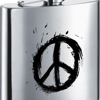 Visol Peace Sign Stainless Steel 6oz Hip Flask