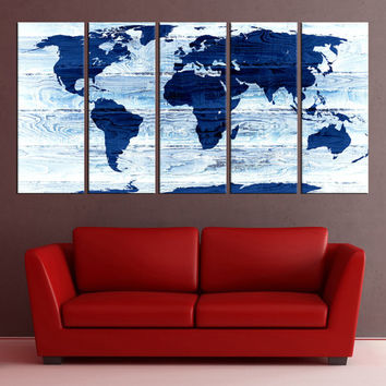 Blue large world map wall art print canvas, extra large wall art, abstract aworld map wall decor, world map ready to hang No:6S67