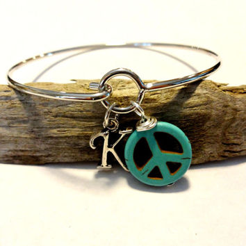 Silver Initial Bangle Infinity Bracelet, Turquoise Bangle Bracelet, Peace Sign Charm Stackable Bangle, Gift Under 20, Personalized Jewelry