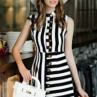 White Black Striped Sleeveless Buttoned A-Line Mini Dress