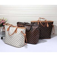 LV Louis Vuitton Popular Women Print Leather Tote Handbag Shoulder Bag(3-Color) I