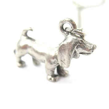 Detailed Dachshund Puppy Dog Shaped Charm Necklace | MADE IN USA